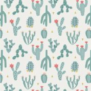 Lewis & Irene Paracas - 5335 - Floral, Blue Cactus on White - A202.1 - Cotton Fabric